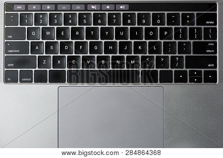 Keyboard With Trackpad Above Top View With Screen