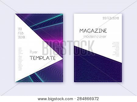 Triangle Cover Design Template Set. Neon Abstract Lines On Dark Blue Background. Impressive Cover De
