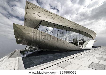 Union Museum, Etihad, Dubai, United Arab Emirate - Jan.4, 2018: Snow-white Pavilion Of The Etihad Mu
