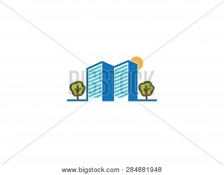 Big Buildings With Trees And Sun For Logo Design
