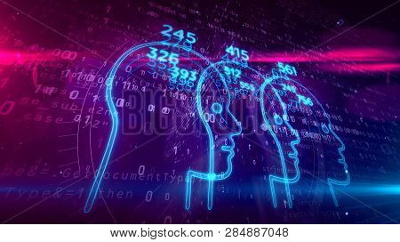 Social scoring, people rating and human behavior analysis. Profiling and measurement citizens by artificial intelligence technology. Futuristic abstract concept on digital background 3D illustration. poster