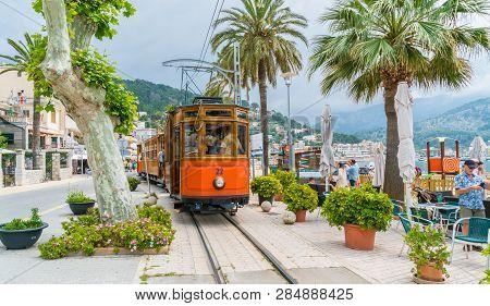 Port De Soller, Mallorca, Spain - October 13, 2017: Famous Tramway Tren Of Port De Soller, Palma Mal