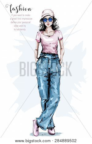 Hand Drawn Beautiful Young Woman In Cap. Stylish Girl In Casual Clothing. Fashion Woman Look. Female