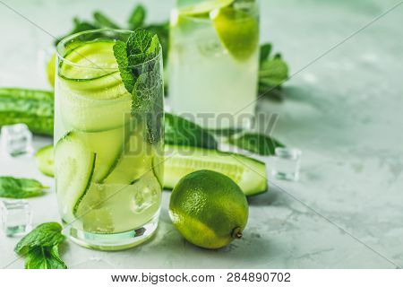 Detox Cocktail Of Mint, Cucumber And Lemon And Mojito Cocktail
