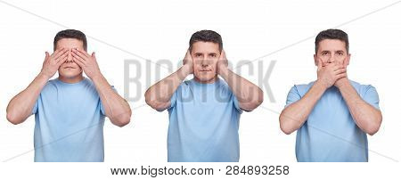 See Nothing, Hear Nothing, Say Nothing Concept. Three Adult Middle Aged Men In Blue T-shirts Isolate