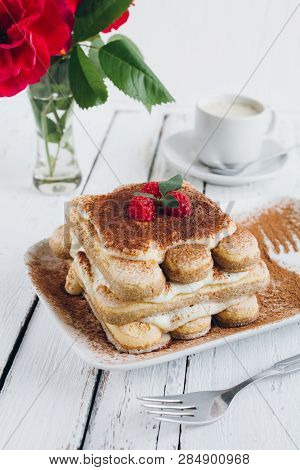 Traditional Italian Dessert Homemade Tiramisu With Fresh Raspberries
