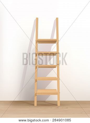 Vector Photo Realistic Illustration Of Wooden Ladder-shelves  Nearthe Wall