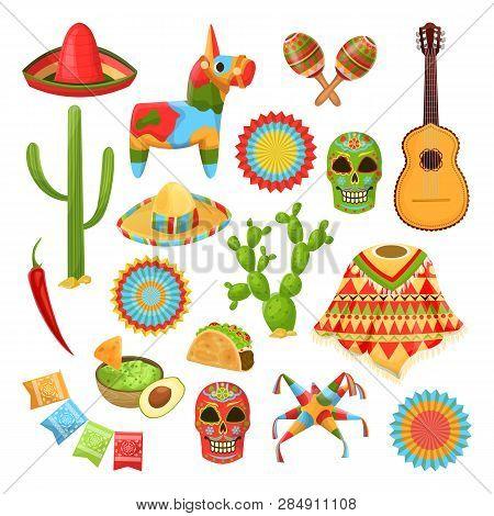 Mexican National Symbols. Vector Design Elements For Cinco De Mayo Holiday. Fiesta, Celebration, Par