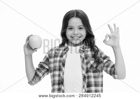 School Snack Concept. Healthy Nutrition Diet. Apple Vitamin Snack. Girl Cute Long Curly Hair Holds A