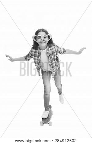 Kid Happy Lovely Feels Sympathy. Child Charming Smile Fall In Love. Girl Heart Shaped Eyeglasses Rid
