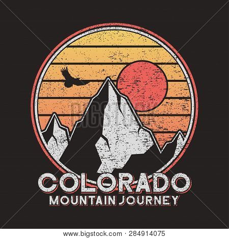 Colorado Typography Graphics With Mountains And Eagle. Vintage Print For Slogan Tee Shirt. Grunge T-