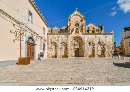 Matera, Italy - September 24 2018: The Romanesque San Giovanni Battista Parish Church, One Of The Mo