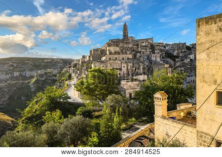 View Of The Ancient City Of Matera, Italy In The Basilicata Region, Including The Old Town, Tourist