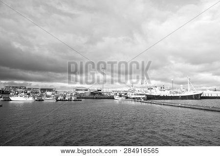 Reykjavik, Iceland - October 13, 2017: Ships In Sea Port. Passenger Vessels With Longer Journey In S
