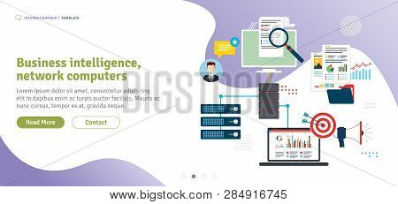 Business Intelligence, Network Computers, Cloud Computing And Data Network. Laptop Accessing Server