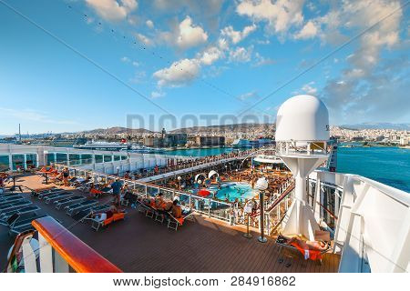 Athens, Greece - September 20 2018: Upper Deck View Of The City Of Athens, Greece, As A Large Cruise