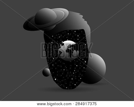 Surrealism, Space In The Head, Stars And Planets, Saturn. Infinity Of Consciousness. Vector Illustra