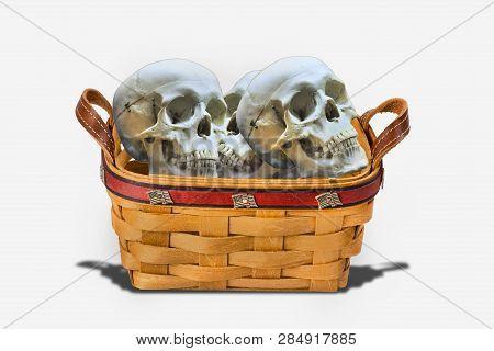 Creapy Basket Full Of Very Scarey Skulls.