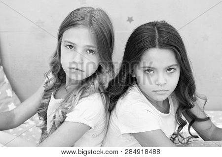 Offended Feelings. Children Offended Keep Silence. Relations Sisters Or Best Friends. Overcome Relat