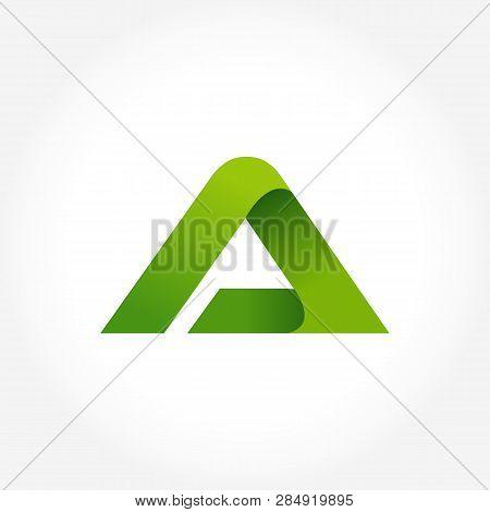 Letter A Green Logo Template. Alphabet Logotype Designs