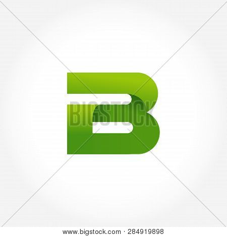 Letter B Green Logo Template. Alphabet Logotype Designs