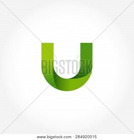 Letter U Green Logo Template. Alphabet Logotype Designs