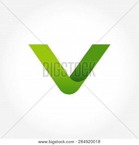 Letter V Green Logo Template. Alphabet Logotype Designs