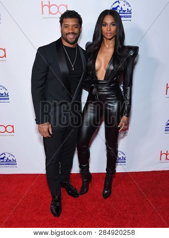 LOS ANGELES - FEB 17:  Russell Wilson and Ciara arrives for the Hollywood Beauty Awards 2019 on February 17, 2019 in Hollywood, CA