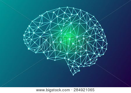 3d Digital Human Brain, Go Green Concept, Glowing Particles Plexus Structure, Abstract Technology An