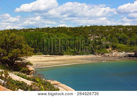 Sandy Beach And Forest In Acadia National Park, Maine, Usa. Nature And Atlantic Ocean Beach With Tou