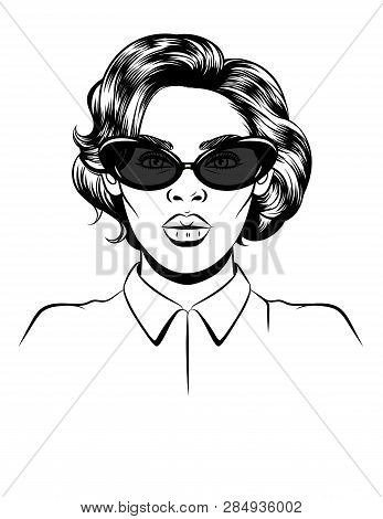 Black White Vector Illustration Of A Female Portrait On White Background. Glamorous Woman In Sunglas