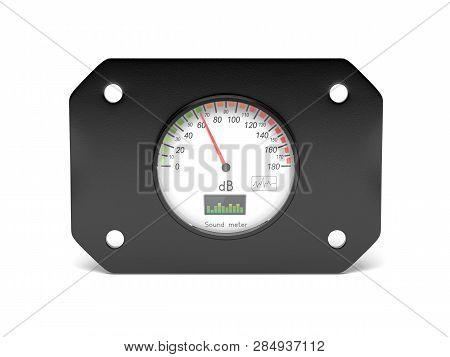 Decibel Meter. Sound Equipment. 3d Rendering Illustration