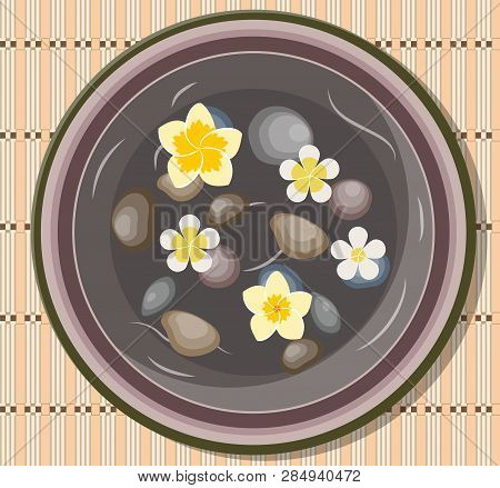 Bowl With Four Frangipani, Plumeria Flower Floating And Basalt Stones For Massage In Water For Spa S