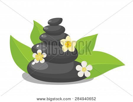 Stack Black Hot Stones With Leaves And Flower, Spa Salon Accessory. Stack Basalt Stones For Hot Ston