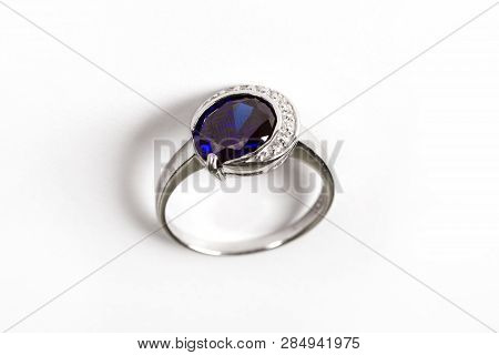 Luxury Ring With Blue Sapphire Isolated On White Background