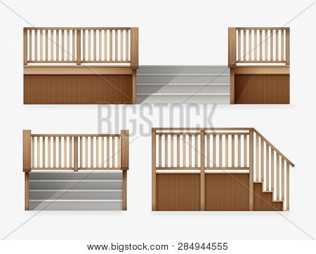 Vector Illustration Of Staircase For Entrance To House, Stairway Of Porch From Wooden Balustrade Fro