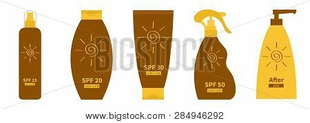 Tube Of Suntan Oil Cream Icon Set Line. After Sun Lotion. Bottle Set. Solar Defence Icon. Spf 15 20