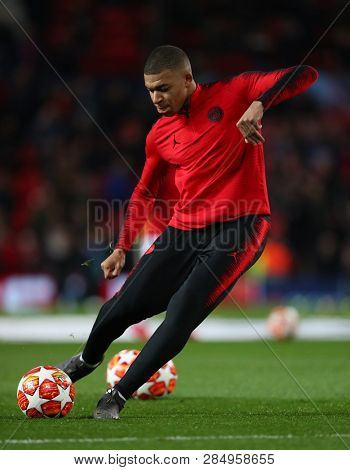 MANCHESTER, ENGLAND - FEBRUARY 12 2019: Kylian Mbappe of PSG during the Champions League match between Manchester United and Paris Saint-Germain at Old Trafford Stadium.