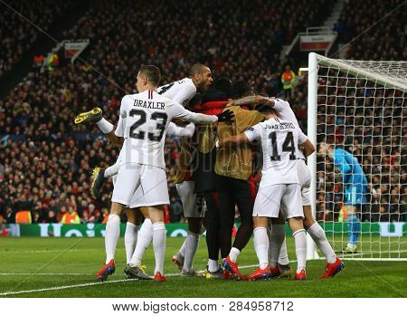 MANCHESTER, ENGLAND - FEBRUARY 12 2019: Kylian Mbappe of PSG celebrates scoring a goal during the Champions League match between Manchester United and Paris Saint-Germain at Old Trafford Stadium.
