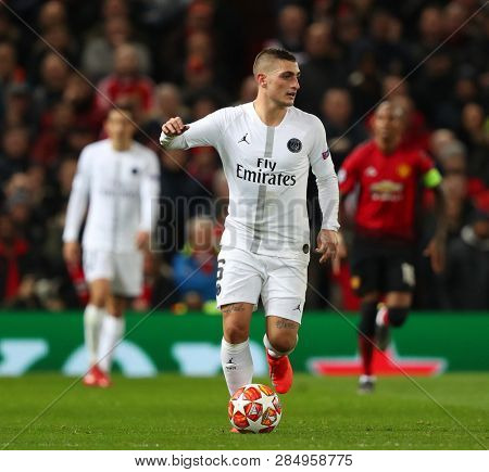 MANCHESTER, ENGLAND - FEBRUARY 12 2019: Marco Verratti of PSG during the Champions League match between Manchester United and Paris Saint-Germain at Old Trafford Stadium.
