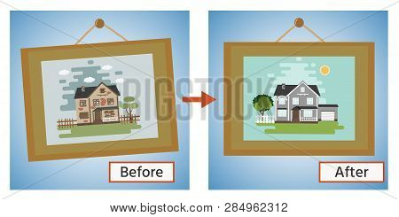 House Before And After Repair. Old Run-down Home. Renovation Building. The Cottage Is Modern. Vector