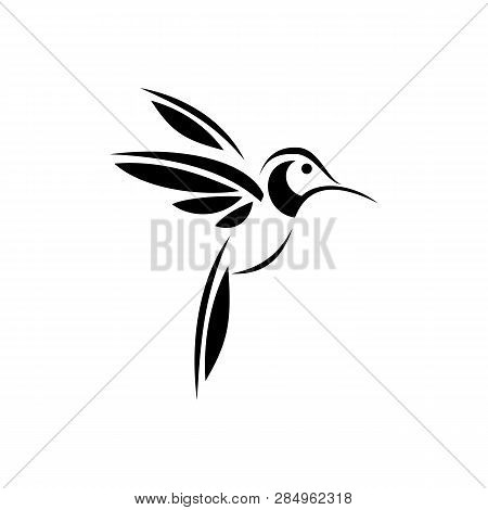 Colibri Or Humming Bird Icons. Vector Isolated Set Of Flying Birds With Spread Flittering Wings. Swa