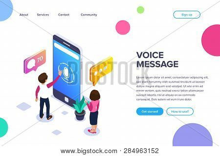 Isometric Voice Message Concept. Use Your Phone To Exchange Voice Messages. People Communicate Using