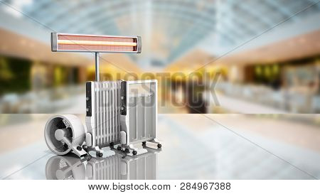 Heating Devices Convection Fan Oil-filled And Infrared Heaters 3d Rendering On Sale Background