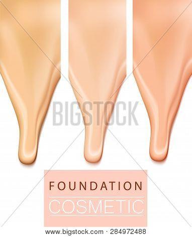 Foundation Liquid Treecolor Texture, Creamy Skin Tone Foundation In 3d Illustration, Extreme Close U