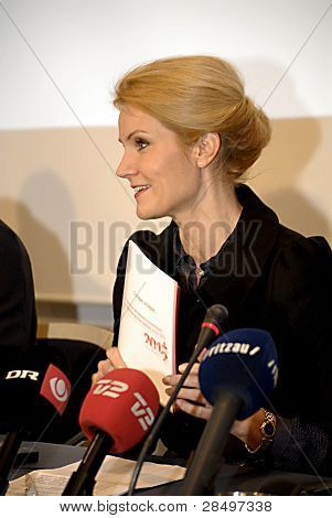 DENMARK / COPENHAGEN 2012-01-06- Danish prime minister Helle thorning -Schmidt minister for foreign affair Mr.Villy Soevndal minister for Economy and minister for home affairs Ms.Margrethe Vestager and last minister for European union affairs Nicolaii Wam