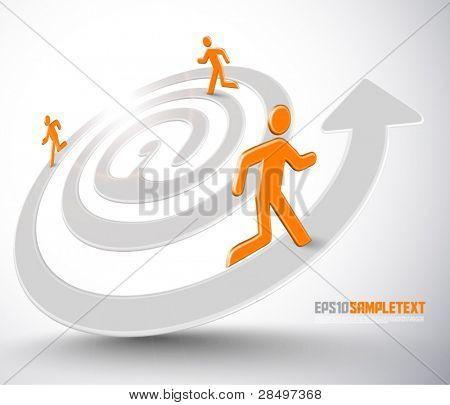 Vector Men Running on At Symbol Arrow Stripes