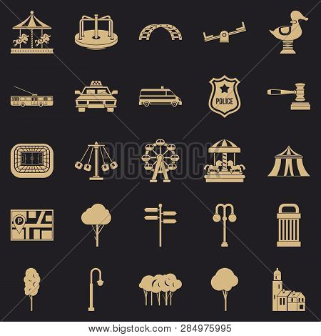Urban Recreation Park Icons Set. Simple Set Of 25 Urban Recreation Park Vector Icons For Web For Any