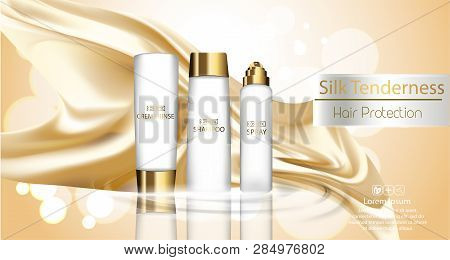A Realistic Template Cosmetic Package. Hair Protection Cosmetics Product Pack Design. Realistic Silk