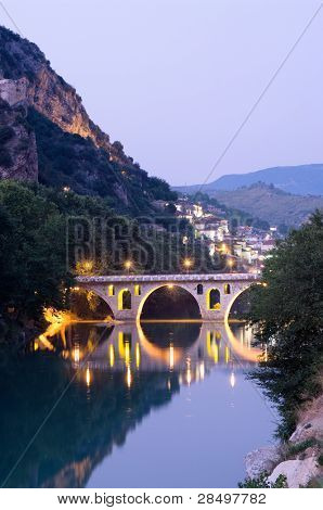 Berat: the bridge that links neighborhoods Gorica (side christian) and Mangalem (side musulman) at the twilight, Albania